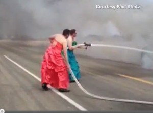 Fire fighters in drag